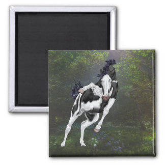 Black and White Bald Face Overo Paint Horse Magnet