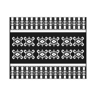 "Black and white Balkan kilim ""Turtle"" inspired Canvas Print"