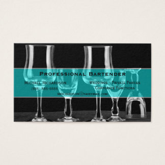 Black and White Bar Glasses Professional Bartender Business Card