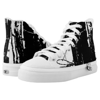 Black and White Barbed Wire High Tops Printed Shoes