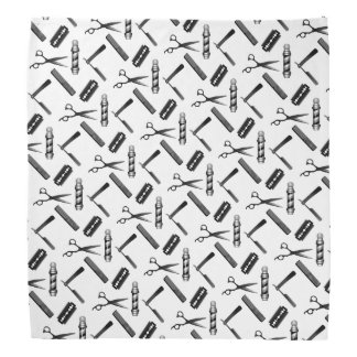 Black and White Barber's Pole Pattern Bandana