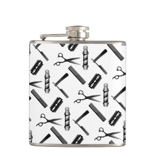 Black and White Barber's Pole Pattern Hip Flask