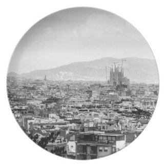 Black and White Barcelona Plate