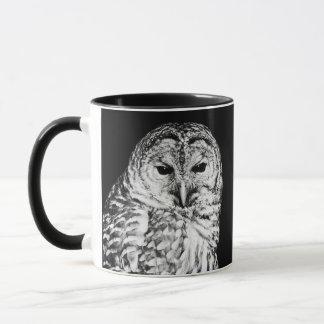 Black and White Barred Owl Face Mug