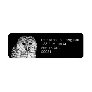 Black and White Barred Owl Nature Photography Return Address Label