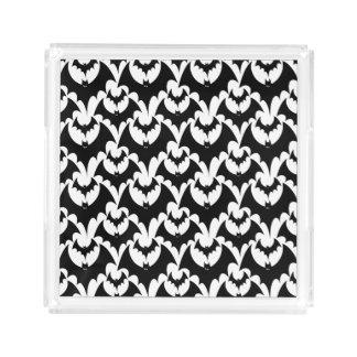 Black And White Bats Goth Halloween Pattern Acrylic Tray