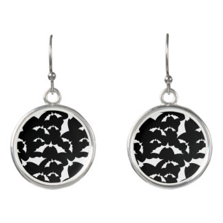 black and white bats halloween pattern earrings