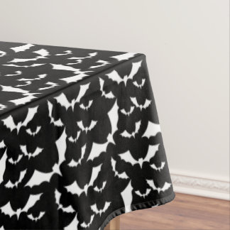 black and white bats halloween pattern tablecloth