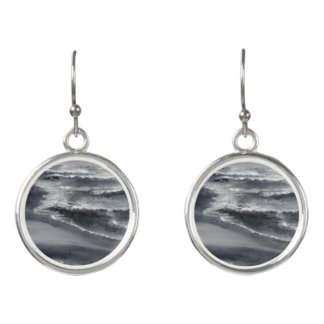 Black and White Beach Abstract Drop Earrings