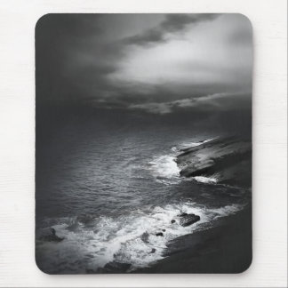 Black and White Beach Mouse Pad