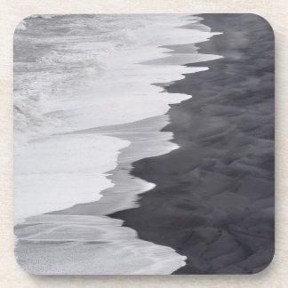 Black and white beach scenic coaster