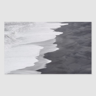 Black and white beach scenic rectangular sticker