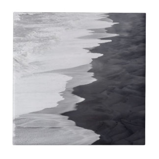 Black and white beach scenic small square tile