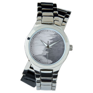 Black and white beach scenic wrist watches