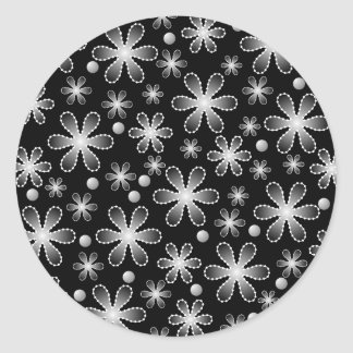 Black and White Bead Flowers Sticker