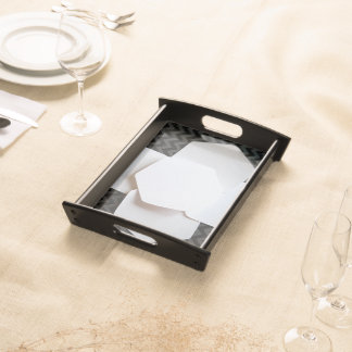 BLACK AND WHITE BEAUTY SERVING TRAY