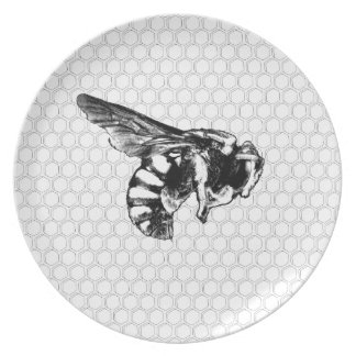 Black and White Bee Dinner Plates