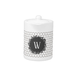 Black and White Beehive Pattern with Monogram