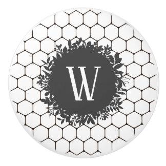 Black and White Beehive Pattern with Monogram Ceramic Knob