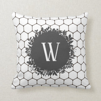 Black and White Beehive Pattern with Monogram Cushion