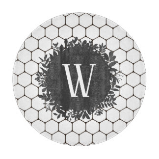 Black and White Beehive Pattern with Monogram Cutting Board