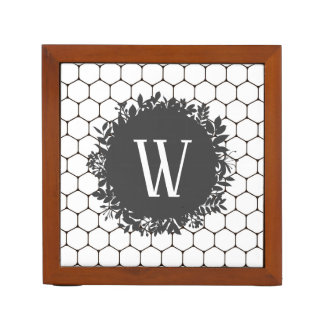 Black and White Beehive Pattern with Monogram Desk Organiser