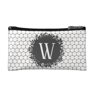 Black and White Beehive Pattern with Monogram Makeup Bag