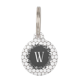 Black and White Beehive Pattern with Monogram Pet Tag
