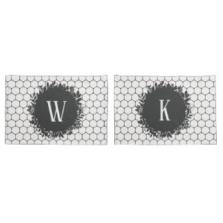 Black and White Beehive Pattern with Monogram Pillowcase