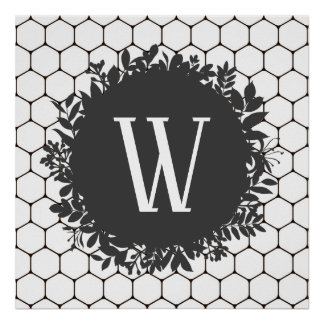 Black and White Beehive Pattern with Monogram Poster
