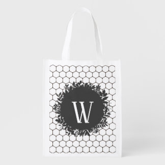Black and White Beehive Pattern with Monogram Reusable Grocery Bag