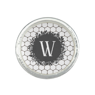 Black and White Beehive Pattern with Monogram Ring