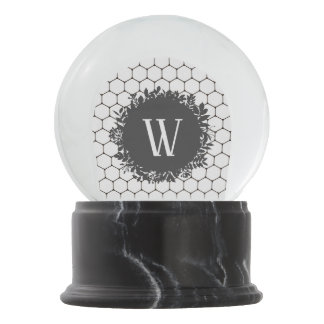 Black and White Beehive Pattern with Monogram Snow Globe