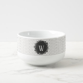 Black and White Beehive Pattern with Monogram Soup Mug