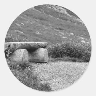black and white bench classic round sticker