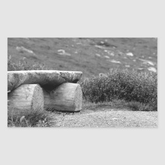 black and white bench rectangular sticker