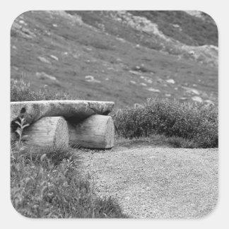 black and white bench square sticker