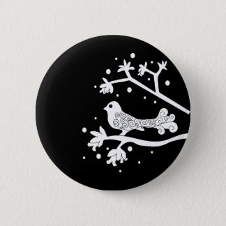 Black and White Bird on a Branch 6 Cm Round Badge