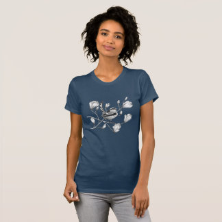 black and white bird on magnolia tree T-shirt