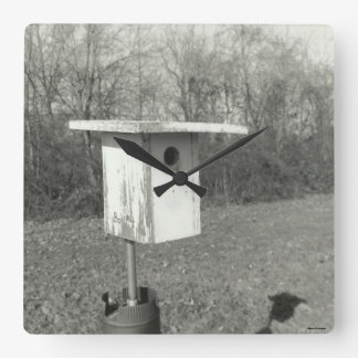 Black and White Birdhouse Photograph Square Clock