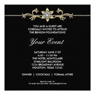 Black and White Black Tie Corporate Party Invitations