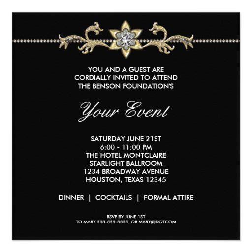 Black and White Black Tie Corporate Party Invitations
