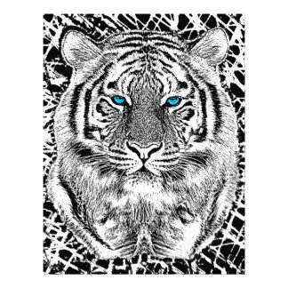 Black And White Blue Eyes Tiger Graphic 21.5 Cm X 28 Cm Flyer