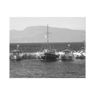 Black and white boats canvas print