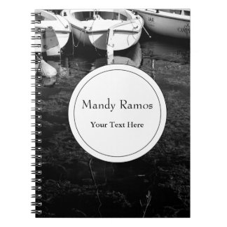 Black And White Boats In Water Spiral Note Book