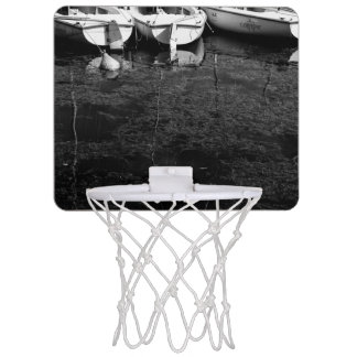 Black And White Boats In Water Mini Basketball Hoop