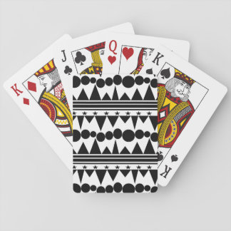 Black and White Bohemian Geometric Striped Playing Cards