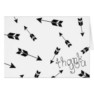 Black and White Boho Arrow Thank You Card