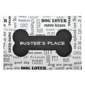 Black and White Bone Custom Name Dog | Pet Dinner Placemat