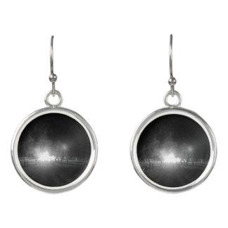 Black and white bonfire print women's earrings